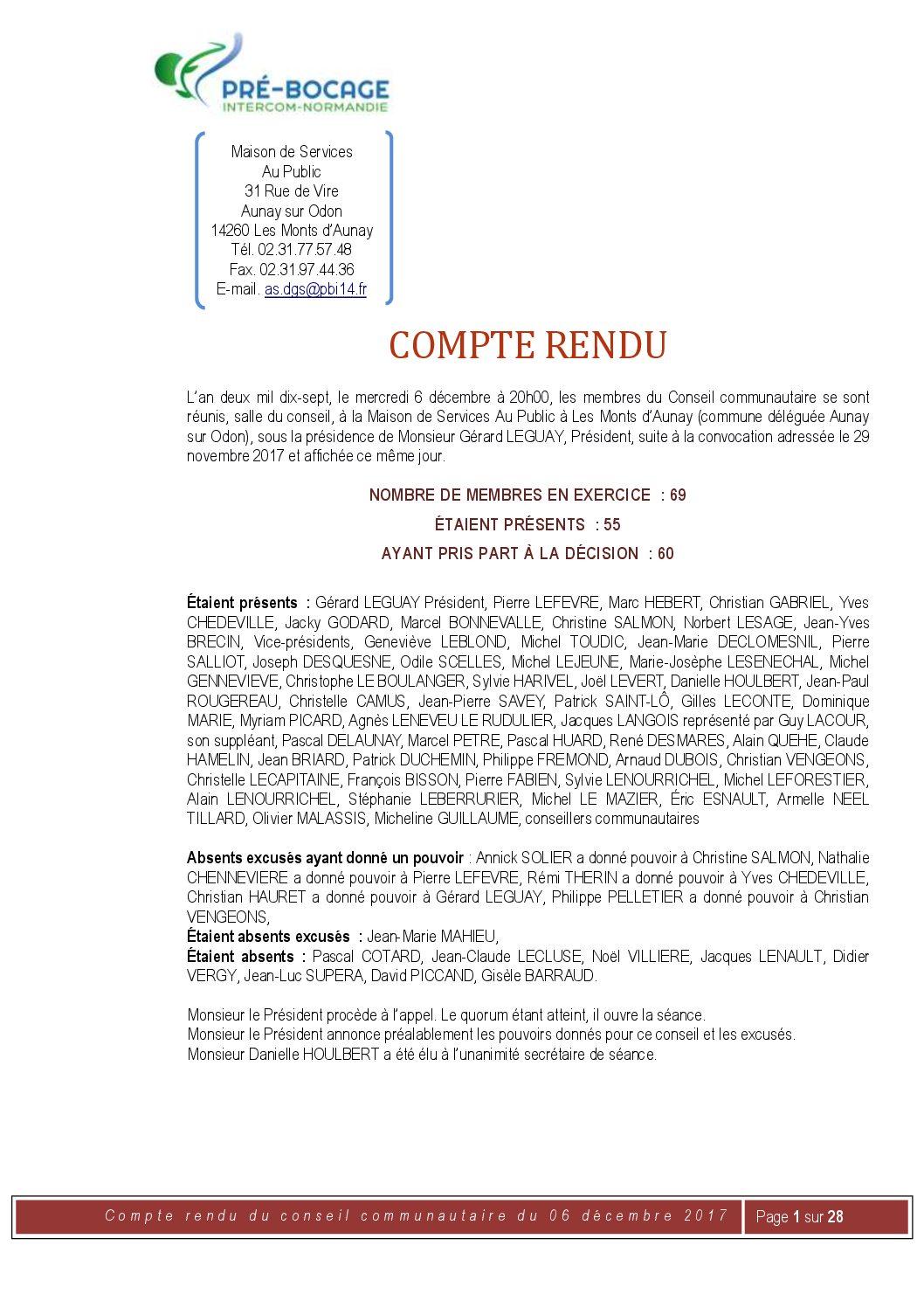 Compte-Rendu du 6 décembre 2017