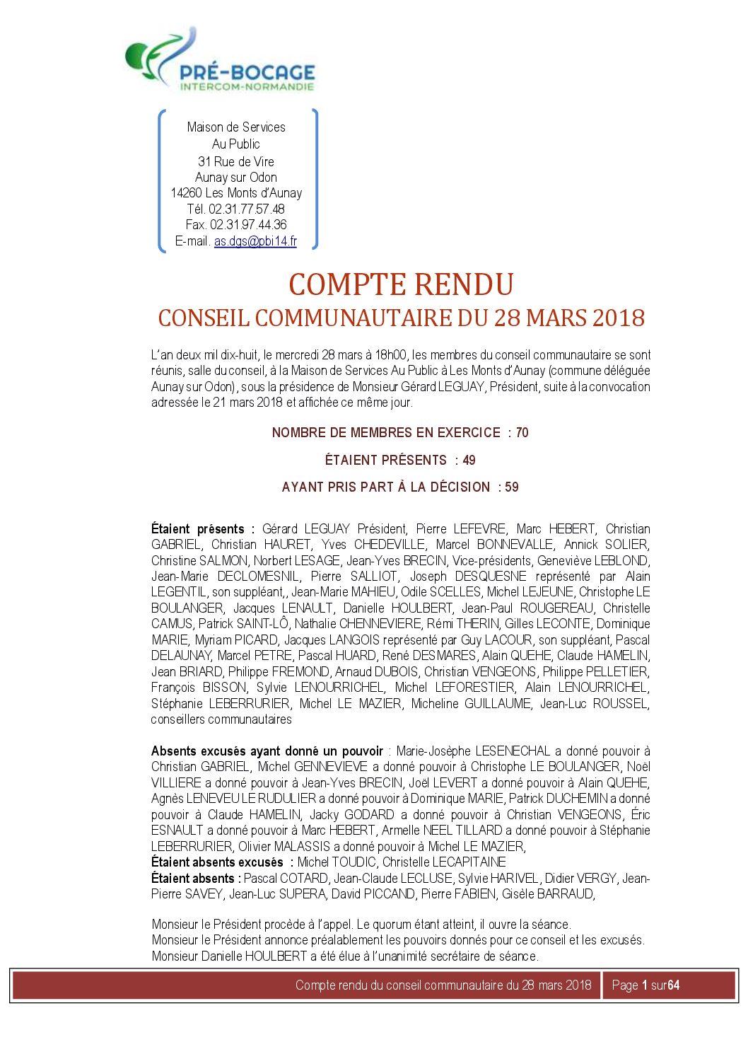 Compte-Rendu du 28 mars 2018